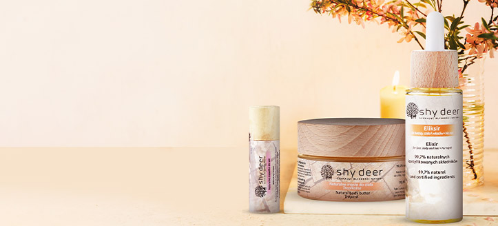Get a free natural lip butter when buying any Shy Deer product
