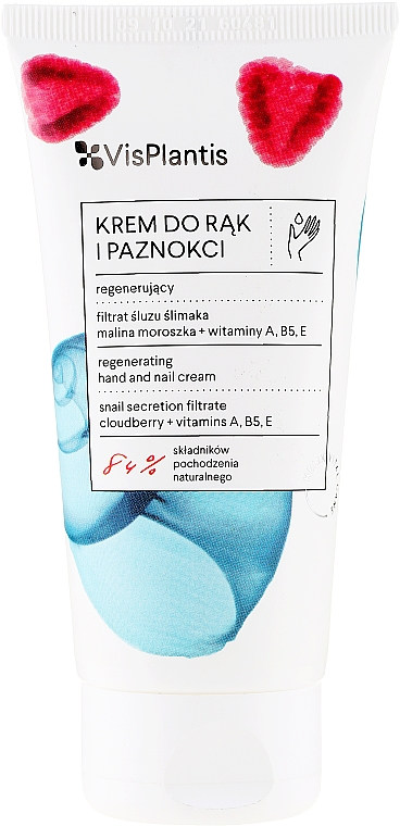 Rejuvenating Hand and Nail Cream with Snail Mucus + Olive Oil and Vitamins A, B5, E - Vis Plantis Helix Hand Care