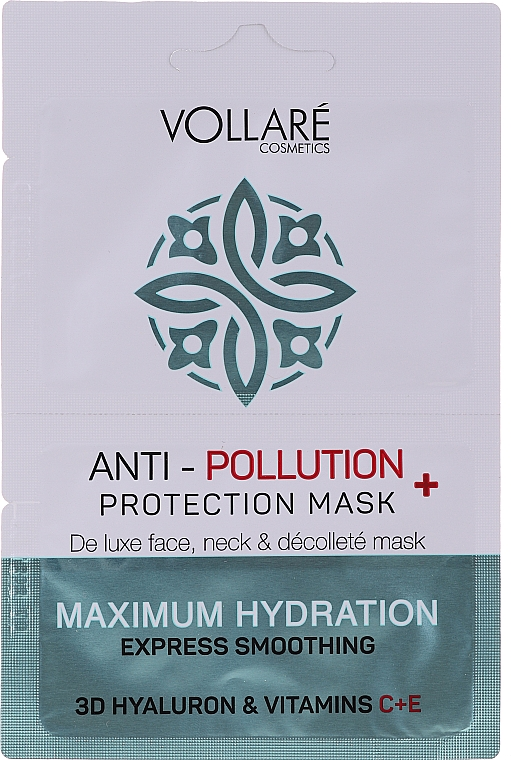 """Face Mask """"Moisturizing Hyaluronic Acid + Vitamins C & E"""" - Vollare Anti-Pollution Protection Mask"""