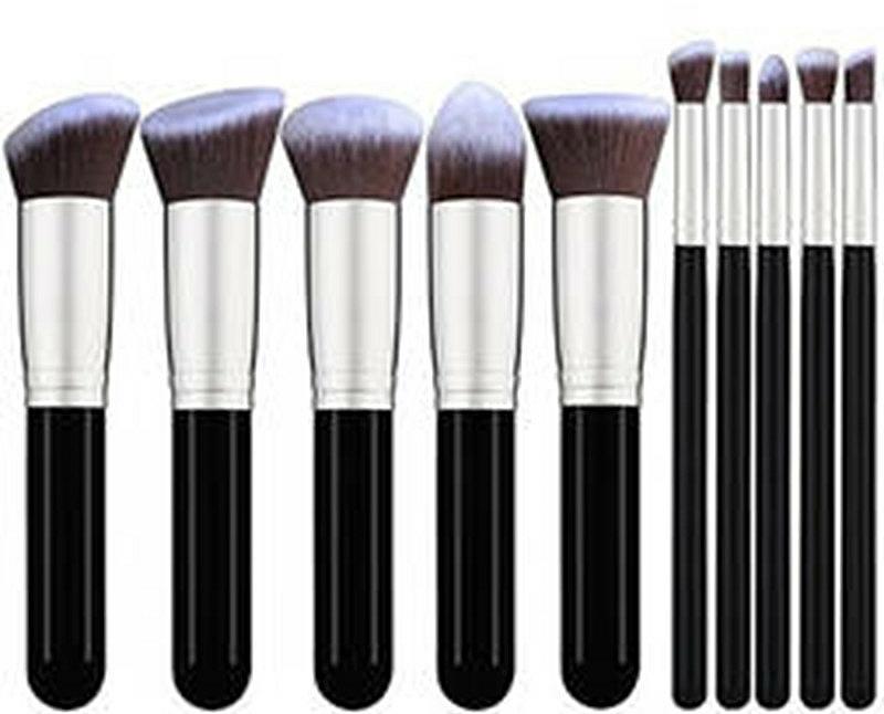 Makeup Brush Set, 10 pcs - Fascination Black & Grey Complexion & Eyes — photo N1