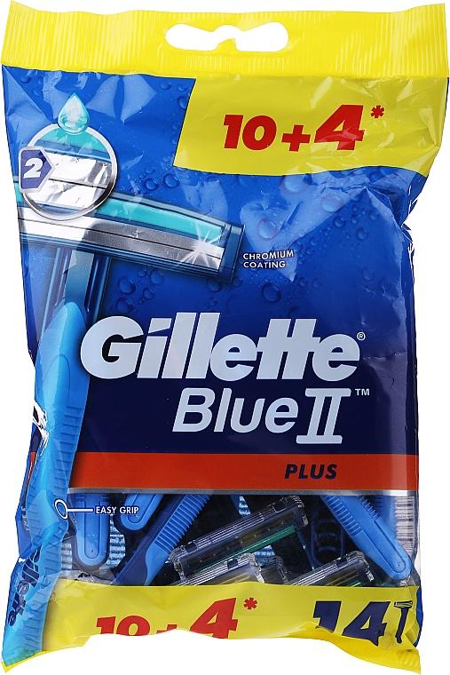 Disposable Shaving Razor Set, 10+4 pcs - Gillette Blue II Plus