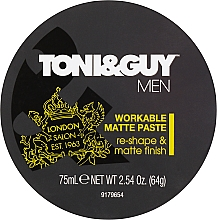 Fragrances, Perfumes, Cosmetics Modeling Paste with Mattifying Effect - Toni & Guy Men Workable Matte Paste