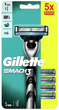 Shaving Razor with 5 Replaceable Cassettes - Gillette Mach3 — photo N1