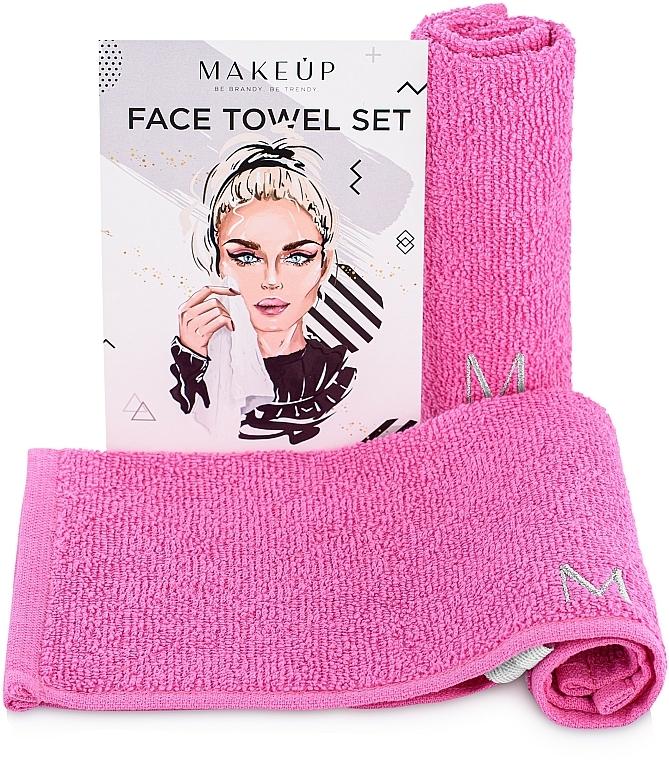 """Travel Face Towel Set, pink """"MakeTravel"""" - Makeup Face Towel Set"""