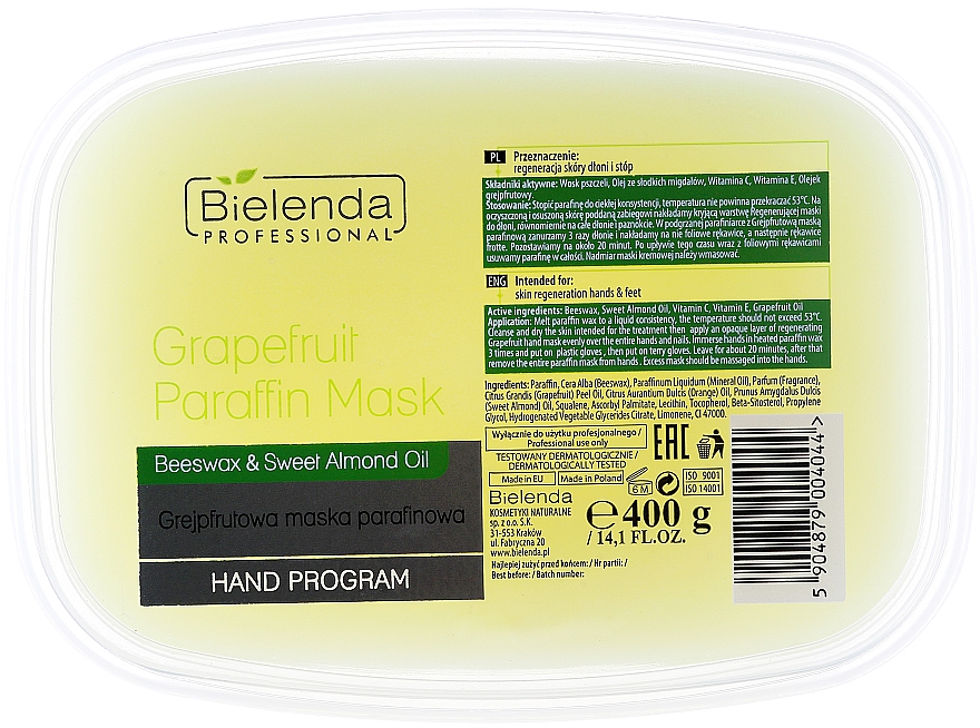 Grapefruit Paraffin Mask - Bielenda Professional Grapefruit Paraffin Mask Beeswax & Almond Oil