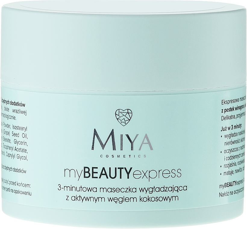 Smoothing Mask with Active Coconut Charcoal - Miya Cosmetics My Beauty Express 3 Minute Mask