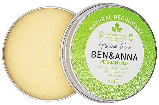 Natural Creamy Deodorant - Ben & Anna Persian Lime Soda Cream Deodorant