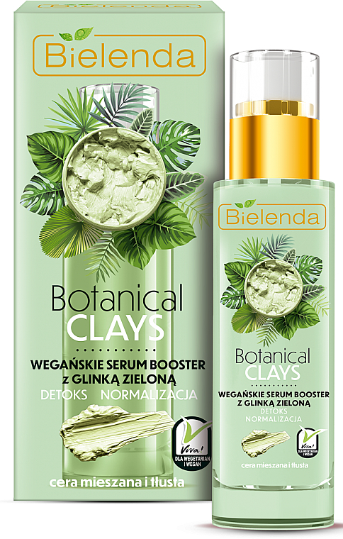 Green Clay Face Serum-Booster - Bielenda Botanical Clays Vegan Serum Booster Green Clay