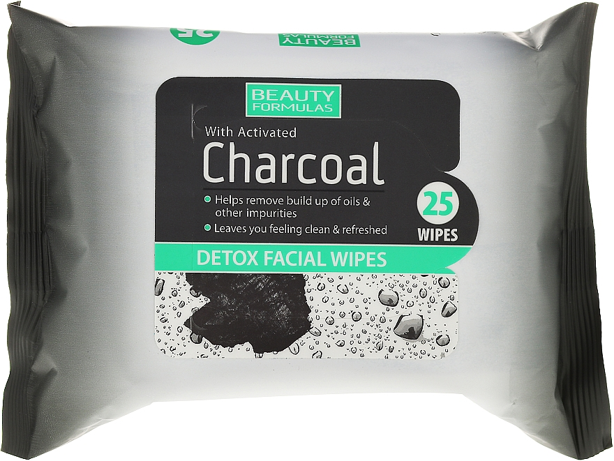 Charcoal Cleansing Facial Wipes - Beauty Formulas Charcoal Detox Facical Wipes