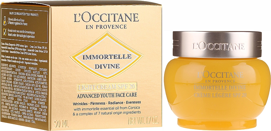 Light Day Face Cream - L'Occitane Immortelle Divine Cream SPF 20 Advanced Youth Care