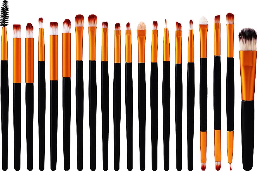 Professional Makeup Brush Set, 20 pcs, black-golgen - Lewer