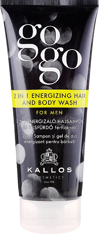 Shampoo-Shower Gel for Men - Kallos Cosmetics Go-Go 2-in-1 Energizing Hair And Body Wash For Men
