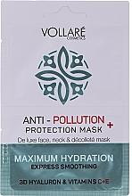 "Fragrances, Perfumes, Cosmetics Face Mask ""Moisturizing Hyaluronic Acid + Vitamins C & E"" - Vollare Anti-Pollution Protection Mask"