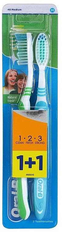 Medium Toothbrushes Set, green+blue - Oral-B 1 2 3 Natural Fresh 40 Medium