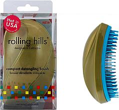 Fragrances, Perfumes, Cosmetics Compact Hair Brush, golden - Rolling Hills Compact Detangling Brush Gold
