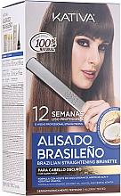 Fragrances, Perfumes, Cosmetics Keratin Hair Straightenin Kit, for brunettes - Kativa Alisado Brasileno Straighten Brunette (shm/15ml + mask/150ml + shm/30ml + cond/30ml + brush/1pcs + gloves/1pcs)