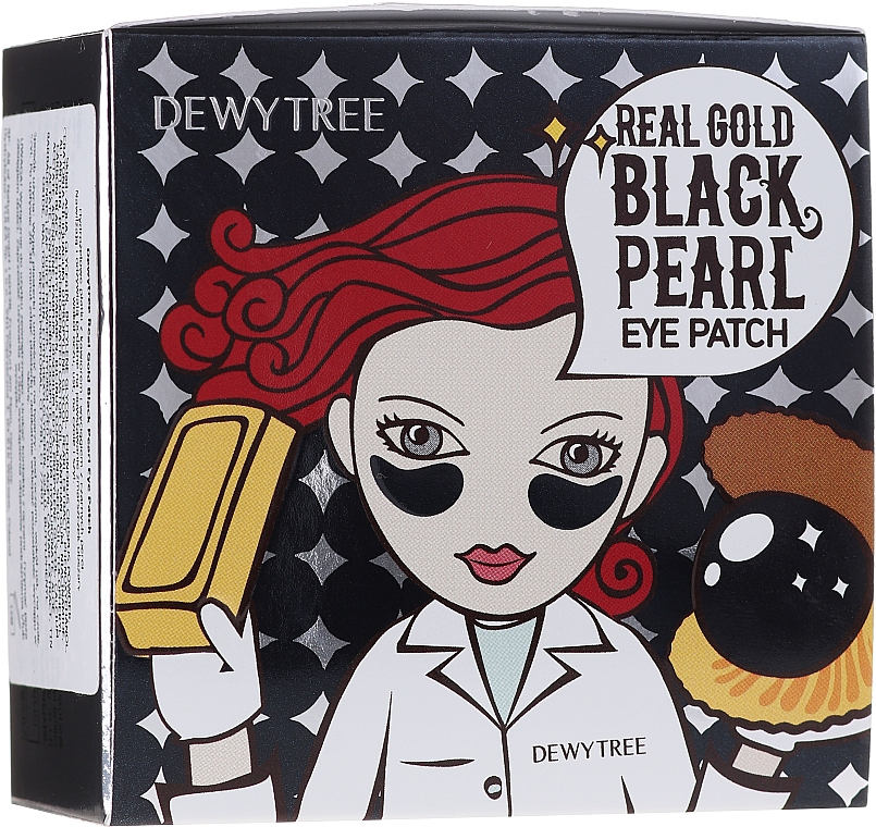 Gold & Black Pearl Eye Patches - Dewytree Real Gold Black Pearls Eye Patch