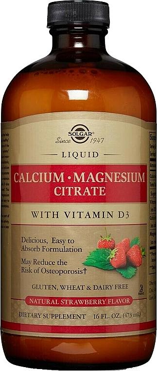 Liquid Dietary Supplement - Solgar Liquid Calcium Magnesium Citrate Strawberry — photo N1