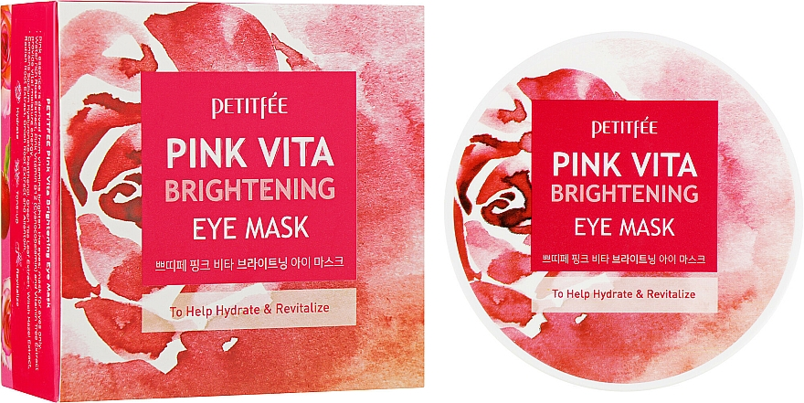 Rose Water Essence Brightening Eye Patches - Petitfee&Koelf Pink Vita Brightening Eye Mask
