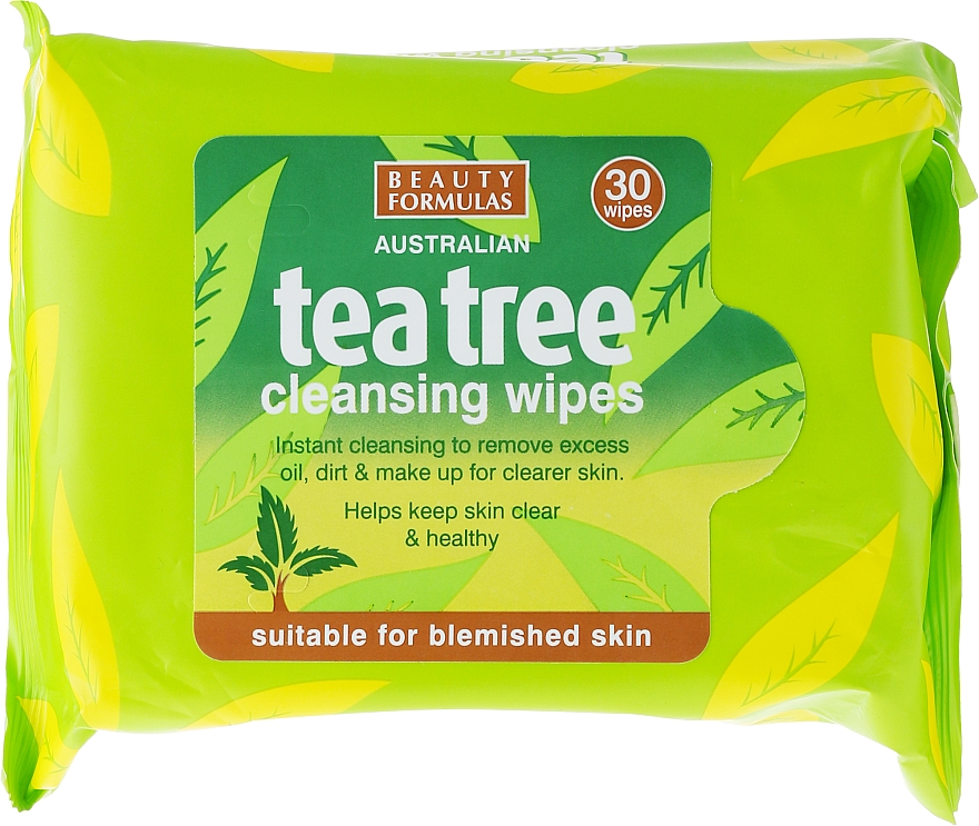 Facial Cleansing Wipes - Beauty Formulas Tea Tree Cleansing Wipes
