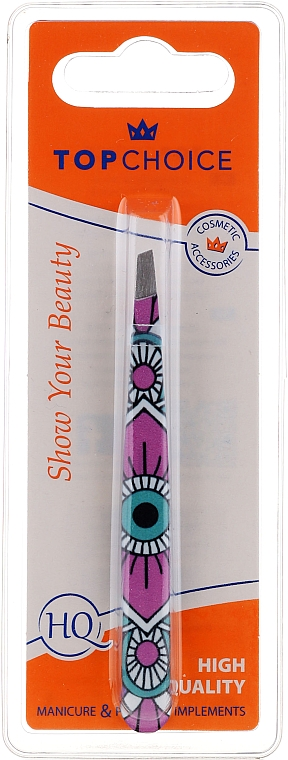 "Brow Tweezer ""Ethno"", 76008, pink with blue pattern - Top Choice — photo N1"