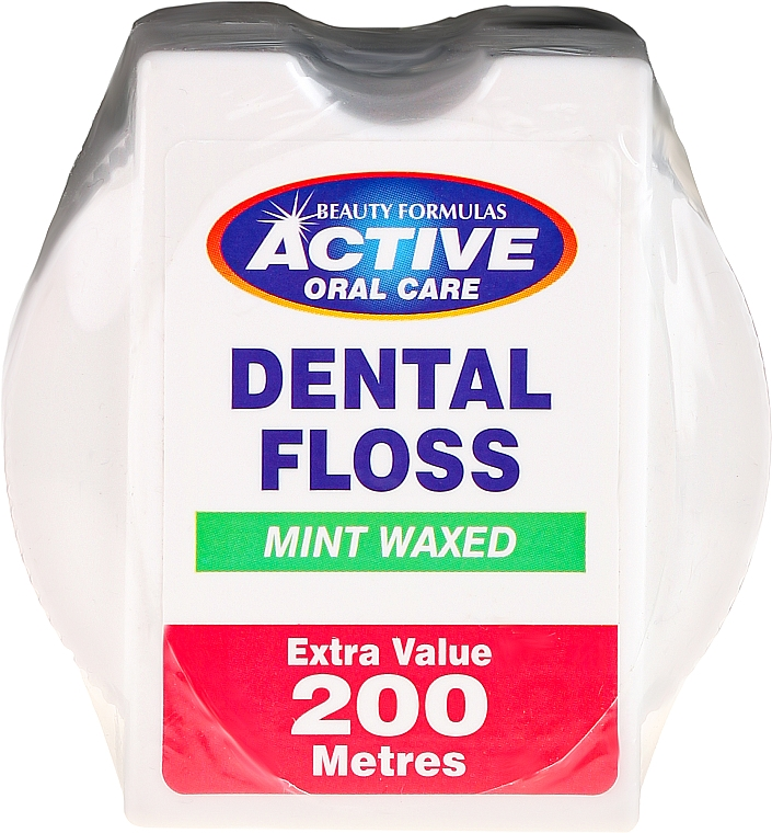 Dental Floss with Mint Scent - Beauty Formulas Active Oral Care Dental Floss Mint Waxed 200m