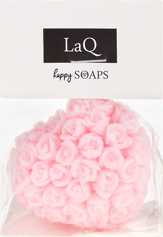 """Natural Hand Made Soap """"Heart with Roses"""" with Cherry Scent - LaQ Happy Soaps Natural Soap"""