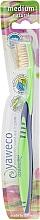 Fragrances, Perfumes, Cosmetics Toothbrush, medium, dark blue-green - Yaweco Toothbrush Medium Natural