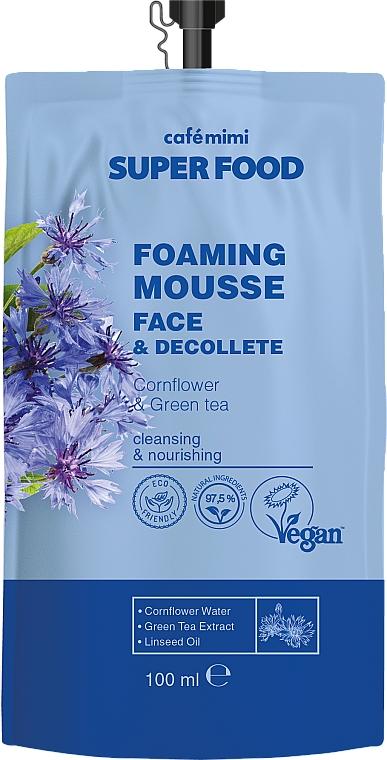 Foaming Cornflower & Green Tea Face & Decollete Cream-Mousse - Cafe Mimi Super Food