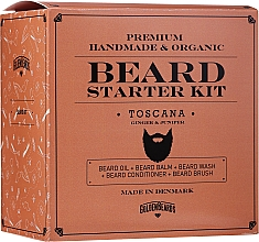 Fragrances, Perfumes, Cosmetics Set - Golden Beards Starter Beard Kit Toscana (balm/60ml + oil/30ml + shm/100ml + cond/100ml + brush)