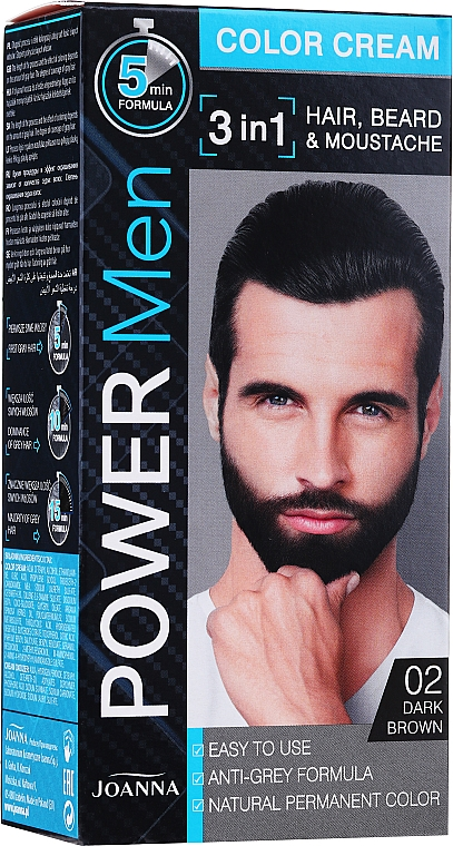 Permanent Hair Color 3 in 1 for Men - Joanna Power Man Color