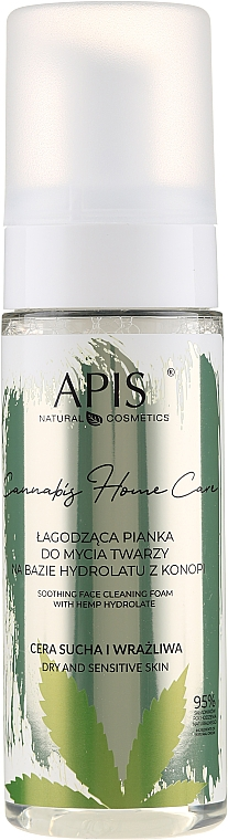 Soothing & Cleansing Cannabis Hydrolat Face Foam - APIS Professional Cannabis Home Care Soothing Face Cleaning Foam