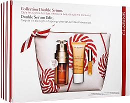 Fragrances, Perfumes, Cosmetics Set - Clarins Double Serum (serum/30ml + cleansing/30ml + lip/oil/2.8ml + bag)