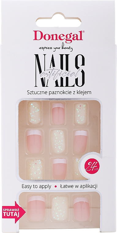False Nails Set with Glue, 3077 - Donegal Express Your Beauty — photo N1