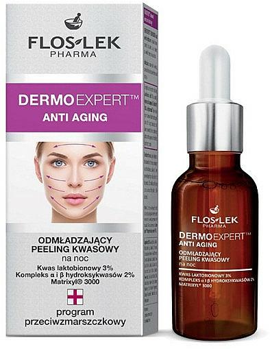 Rejuvenating Night Acid Peeling for Face - Floslek Dermo Expert Anti Aging Peeling