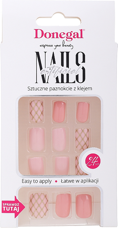 False Nails Set with Glue, 3076 - Donegal Express Your Beauty — photo N1