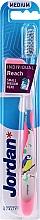 Fragrances, Perfumes, Cosmetics Toothbrush with Cap, transparent pink with bird - Jordan Individual Reach Medium Toothbrush