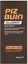 Fragrances, Perfumes, Cosmetics Facial Sun Cream - Piz Buin Allergy Face Cream SPF50