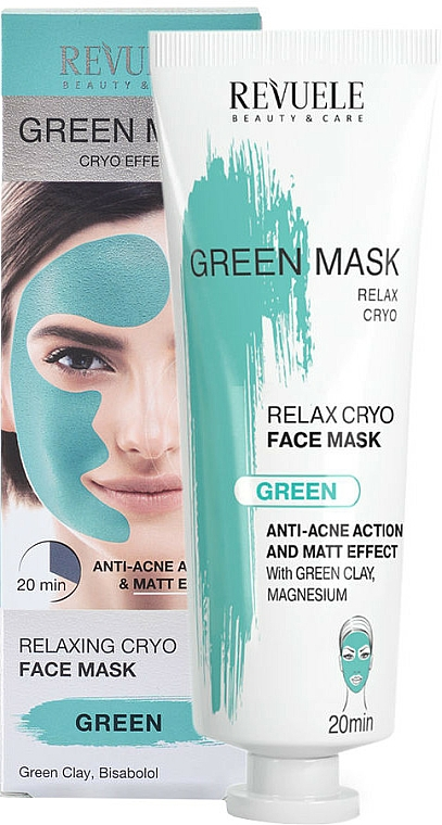 Face Mask - Revuele Anti-Acne Green Face Mask Cryo Effect