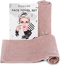 "Fragrances, Perfumes, Cosmetics Face Towels Travel Set, beige ""MakeTravel"" - Makeup Face Towel Set"