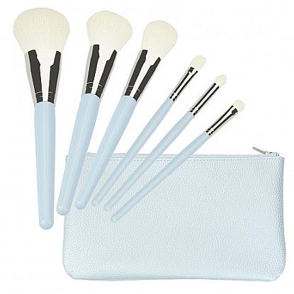 Makeup Brush Set, blue 6 pcs - Tools For Beauty Set Of 6 Make-Up Brushes