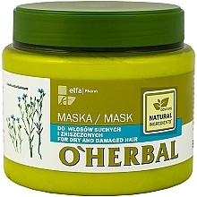 Fragrances, Perfumes, Cosmetics Dry & Dull Hair Mask with Flaxseed Extract - O'Herbal