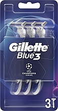 Fragrances, Perfumes, Cosmetics Disposable Shaving Razor Set, 3 pcs - Gillette Blue3 Comfort Football