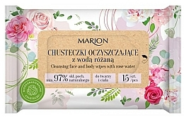 Fragrances, Perfumes, Cosmetics Cleansing Face & Body Wipes with Rose Water, 15 pcs - Marion