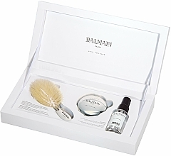 Fragrances, Perfumes, Cosmetics Set - Balmain Paris Hair Couture Silver Brush Set Mini (h/silk/50ml + brush + mirror)