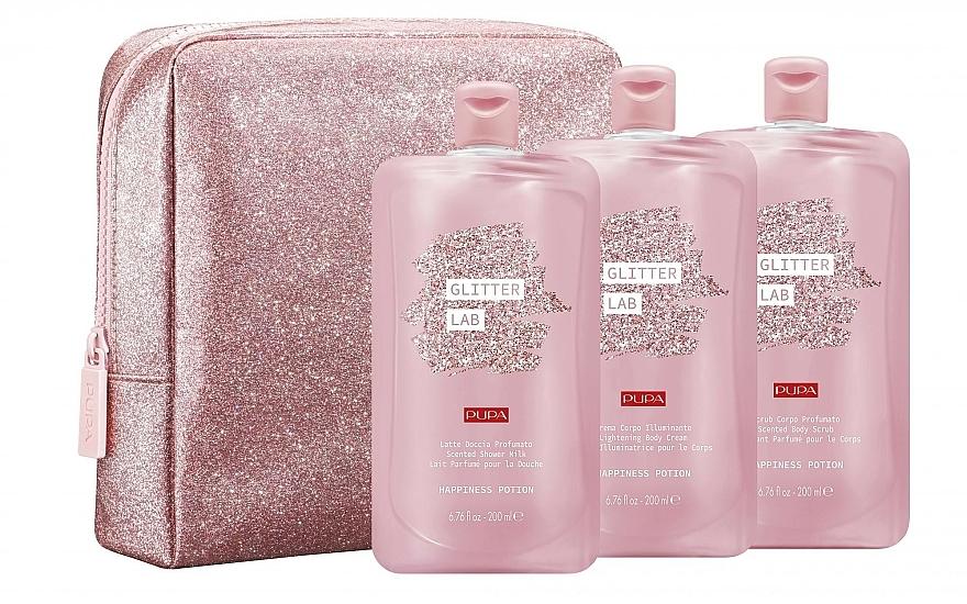 Set - Pupa Glitter Lab Happiness Potion (bag+milk/200 ml+cream/200ml+scrub/200ml) — photo N1