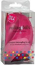 Fragrances, Perfumes, Cosmetics Compact Hair Brush, fuchsia - Rolling Hills Compact Detangling Brush Fuschia