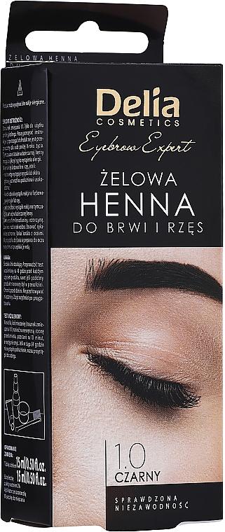 Brow Tint Gel, black - Delia Eyebrow Tint Gel ProColor 1.0 Black