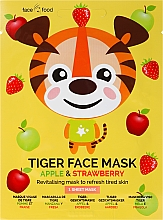 """Fragrances, Perfumes, Cosmetics Face Sheet Mask with Apple and Strawberry Extracts """"Tiger"""" - 7th Heaven Face Food Tiger Face Mask Apple & Strawberry"""
