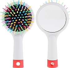 Fragrances, Perfumes, Cosmetics Hair Brush with Mirror, grey - Twish Handy Hair Brush with Mirror Light Grey